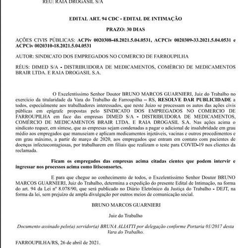 Edital ACP insalubridade Farmácias