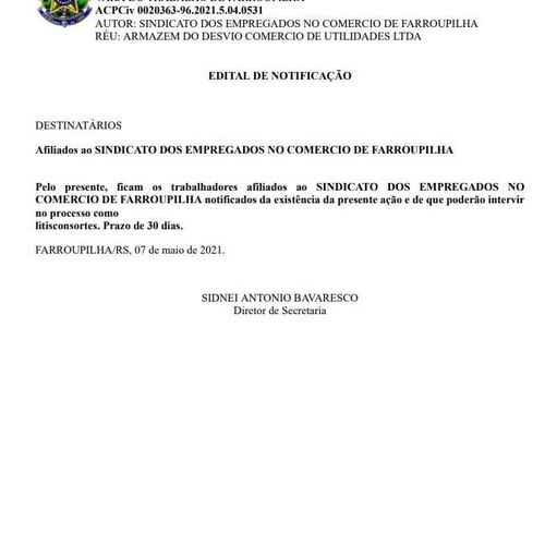 Edital ACP ARMAZEM DO DESVIO COMERCIO DE UTILIDADES